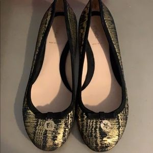 Fendi Black And Gold Ballerina Flats Size 9